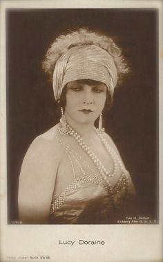 Lucy Doraine, Silent Era Film Actress Chic Flapper Glamour Diva with Turban Metallic Headband & Jewels, Original 1920s Art Deco Postcard