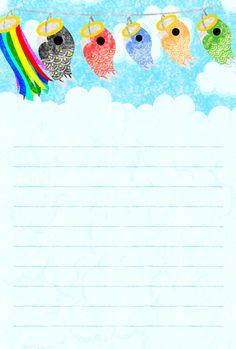 """そのまま印刷できるこどもの日のフリーのイラスト素材風に揺れる鯉のぼりのポストカード  Free Illustration of Childrens Day Postcard of carp streamer which shakes for wind"""""""
