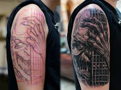 This sick tattoo is by Trafik. Who wants to bet that Iron Maiden is being played on that guitar? #InkedMagazine #tattoo #guitar #Inked #art #tattoos