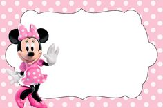 <center>Minnie rosa e preto</center> Image Minnie Mouse Baby Room, Minnie Mouse Theme, Minnie Mouse Template, Minnie Mouse Birthday Invitations, Minnie Mouse 1st Birthday, Disney Scrapbook, Baby Shower Invitations, Creations, Google