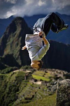 Back flip at Machu Picchu (Parkour champion Ryan Doyle)