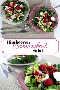 Himbeeren Camembert Salat mit Mandelblättchen