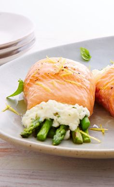 Ricotta & Asparagus Trout Rolls. We swapped with salmon, left out sauce, added garlic