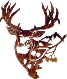 """Metal Wall Art ~ 18"""" Mule Deer with Aspen"""