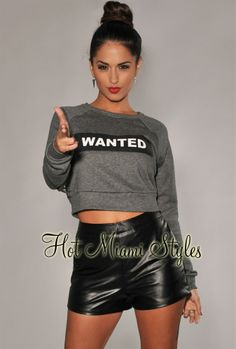 """Charcoal Gray """"WANTED"""" Cropped Sweater Top"""