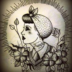 Old School  Sugar Skull Women Tattoo design