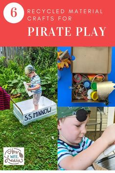 Love all these recycled material crafts for pirate play. This were so much fun to make Play Based Learning, Kids Learning Activities, Holiday Activities, Easy Arts And Crafts, Crafts For Kids To Make, Arts And Crafts Projects, Recycled Crafts, Recycled Materials, Pirate Eye Patches
