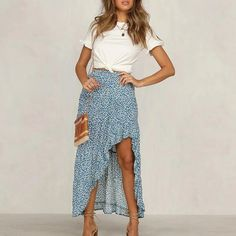 May 2020 - Women Bohemian Floral Print Elegant Ruffled Front Split Vintage Beach – Simplee Summer Outfits Women, Spring Outfits, Summer Dresses, Summer Clothes For Women, Skirt Outfits, Dress Skirt, Midi Skirt, Look Fashion, Fashion Outfits
