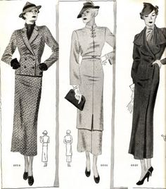 Suits, Delineator January 1935. Left: tweed suit with double-breasted jacket. Middle: Tunic dress. Right: Coat without fur. When you want to look more formal, add a fur cape or scarf.