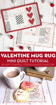 Use the quilt as you go method while you create this adorable Valentine's Day Mug rug. A free mug rug tutorial and pattern. Plastic Canvas Tissue Boxes, Plastic Canvas Patterns, Star Quilts, Mini Quilts, Quilt Blocks, Mug Rug Patterns, Quilt Patterns, Sewing Patterns, Quilting Tutorials
