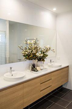 Bathroom vanity. Timber laminex vanity. Double basin. Ensuite.