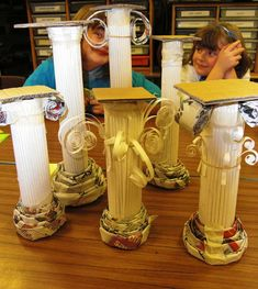 Greek Columns by maureencrosbie. Great idea to go with an art history lesson! Ancient Greek Art, Ancient History, School Art Projects, Art School, 7 Arts, Cultures Du Monde, Greek Crafts, Art History Lessons, History Projects