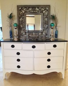 Upcycled Vintage Black on White Dresser / by BornAgainHomeAccents, SOLD