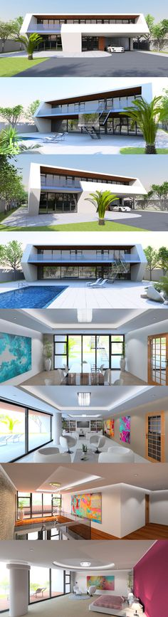 Luxury 4 Bed / bath contemporary home with ultra modern aesthetic. Features a dramatic cantilevered Garden Retaining Wall, Diy Garden Fence, Garden Pool, Garden Front Of House, House Front, Swimming Pool Photos, Swimming Pools, Modern Garden Furniture, Cabin Loft