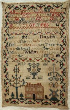 Early 19th Century Linen Wool Silk House Sampler by Hannah Rucastle 1819