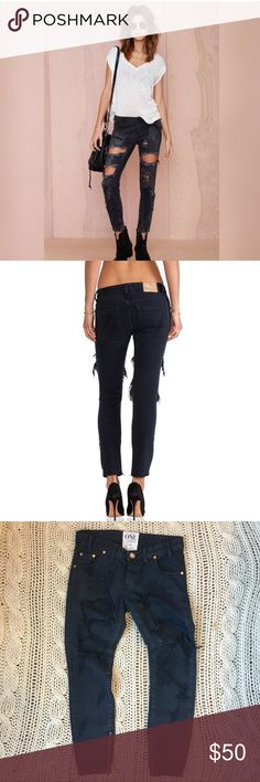 "One Teaspoon Trashed Freebird Jeans one teaspoon trashed freebirds in london (black) • size 24, runs large, would best fit a 25/26 • worn once, in perfect condition • 8"" rise • 27.5"" inseam • cotton blend • retail $138 One Teaspoon Jeans Skinny"