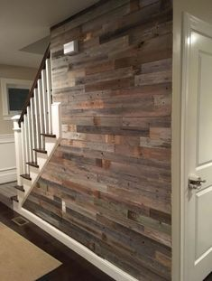 Reclaimed Barn Wood 3 Wide Planks 10 Square Feet / Yes- Peel and Stick Adhesive Basement Stairs Adhesive barn feet Peel Planks reclaimed Square Stick Wide Wood Basement Makeover, Basement Renovations, Basement Ideas, Basement Plans, Basement Flooring, Walkout Basement, Basement Stairs, Basement Kitchenette, Basement Layout