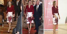 La reina en el Museo del Prado este jueves; en México en junio de 2015; y en Santiago de Compostela en julio de 2015.