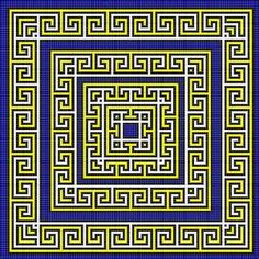 Greek key tapestry pattern