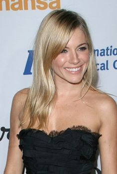 Popular Long Straight Blonde Haircut with Side Bangs Hair for Women from Sienna Miller