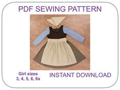 Cinderella rag dress costume pattern. PDF pattern for 3 piece