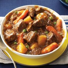 Slow Cooker Beef Vegetable Stew Recipe -Come home to warm comfort food! This beef stew is based on my mom's wonderful recipe, but I adjusted it for the slow cooker. Add a sprinkle of Parmesan to each bowl for a nice finishing touch. —Marcella West, Washburn, Illi