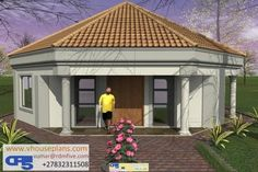 Overall Dimensions- 0 Car GarageArea- Square metres Round House Plans, My House Plans, Family House Plans, Modern House Plans, House Floor Plans, Flat Roof House Designs, House Roof Design, 1 Bedroom House Plans, Single Storey House Plans