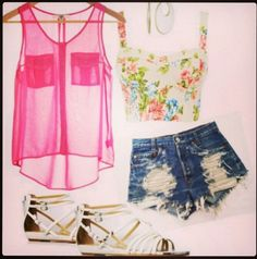Get these shorts on @Wheretoget or see more #shorts #jeans_shorts #sandals #bustier