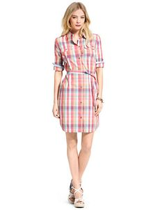 TOMMY HILFIGER Long-Sleeve Belted Plaid Shirtdress – PINK – http://1tagdeals.com/fashion/shop/tommy-hilfiger-long-sleeve-belted-plaid-shirtdress-pink-large/