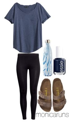 """3.13.16"" by monicaruns ❤ liked on Polyvore featuring H&M, S'well, Birkenstock and Essie"
