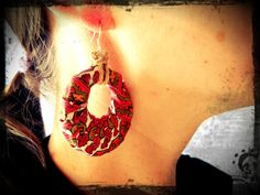 ON SALE Red Tribal Earrings Upcycled Recycled by EarthChildArt