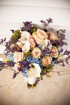 Spring Summer Blue Ivory Pink Purple Bouquet Wedding Flowers Photos & Pictures - WeddingWire.com