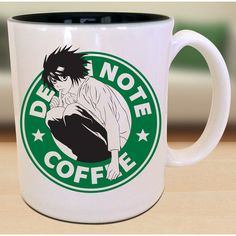 L X Death Note X Starbucks Anime Manga Inspired Geek Nerd Mug... ($15) ❤ liked on Polyvore featuring home, kitchen & dining, drinkware, coffee mugs, coffee tea mugs, tea mug, inspirational coffee mugs and animal mugs