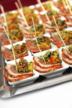 restaurant - finger food - meat in small bowls