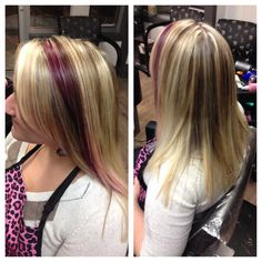 Blonde Ombre, highlight, red violet and trim