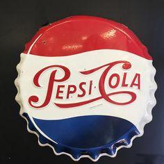 VIntage French Made Pepsi Cola Promotional Sign Pepsi Cola, Coke, Cola Wars, Nose Art, Bottle Caps, Dallas Cowboys, French Vintage, Ephemera, Pin Up