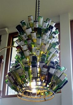 13 Wine Bottle Chandelier Black Wrought Iron texture with Frosted Bottles 3