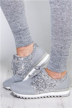Claire Silver Mesh Glitter Trainers at misspap.co.uk