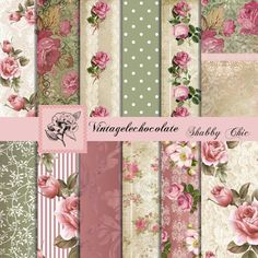 Shabby Chic Floral Paper Digital Vintage by VintageLeChocolate