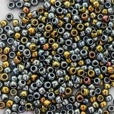 Size 6/0 Toho Seed Beads - 16 grams - Galvanized Blue Gold Mix Metallic - 2094 - Color 721 - Metallic Mix Blue Gold Galvanized