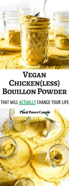 Life-Changing Chicken(less) Bouillon Powder This easy, vegan bouillon powder will totally level-up your cooking game! It's gluten-free and can be used to make a chicken(less) broth that is just as flavorful as the one we all grew up loving! Vegan Sauces, Vegan Foods, Vegan Dishes, Vegan Meals, Vegan Desserts, Vegan Soup, Vegan Vegetarian, Vegetarian Recipes, Vegan Chicken Seasoning Recipe