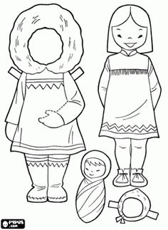 Free Doll dress up game, a girl from Alaska or Eskimo girl coloring and printable page. Coloring Pages For Girls, Colouring Pages, Coloring Books, Doll Dress Up Games, Alaska, Polo Norte, Eskimo, Paper Dolls Printable, Youth Activities