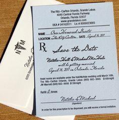 pharmacy prescription save the date wedding - Google Search