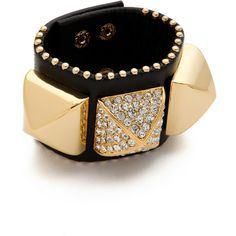 Juicy Couture Pave Pyramid Leather Cuff ($49) ❤ liked on Polyvore