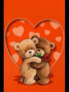 teddy hugging teddy with rose inside a heart