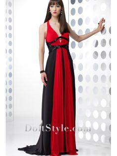 Elegant A-line V-neck Chiffon Evening Dress $120