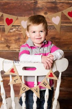 Valentine's Day Mini LOVE Burlap Banner / Photography Prop Banner. $15.00, via Etsy.