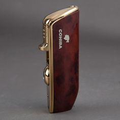 COHIBA RED METAL WIND-PROOF 3 TORCH JET FLAME CIGAR CIGARETTE LIGHTER W/PUNCH #COHIBA