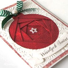 handmade Christmas card ... iris folding ... gorgeous textured red ... big circle ornament ...