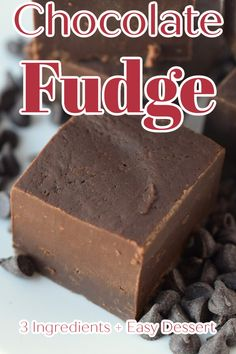 Chocolate Fudge – The easiest fudge recipe ever! Made with just 3 simple ingredients, this fudge recipe is so tasty and simple to make. Fudge Recipe | Chocolate Fudge | Easy Fudge Recipe Fudge Recipes, Best Dessert Recipes, Candy Recipes, Easy Desserts, Delicious Desserts, Bar Recipes, Sweets Recipes, Amazing Recipes, Best Chocolate Desserts